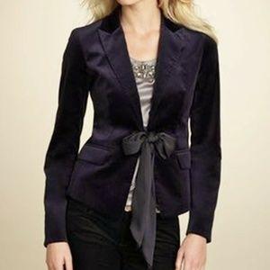 Ann Taylor  Velvet Blazer Satin Tie Bow Jacket